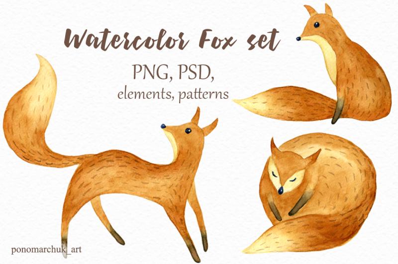 watercolor-fox-set