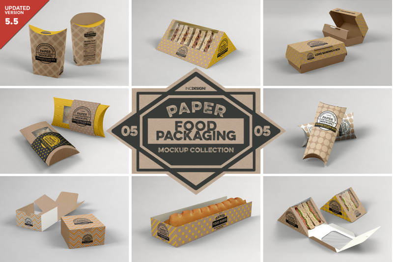 Free VOL 5: Paper Food Box Packaging Mockup Collection (PSD Mockups)
