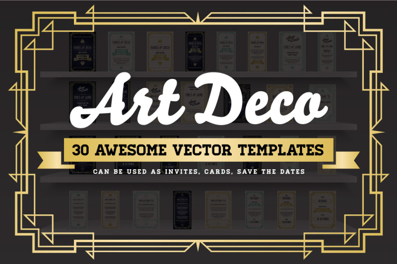 Free Awesome Art Deco Invites & Cards (PSD Mockups)