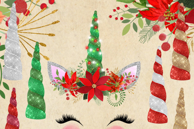christmas-unicorn-faces