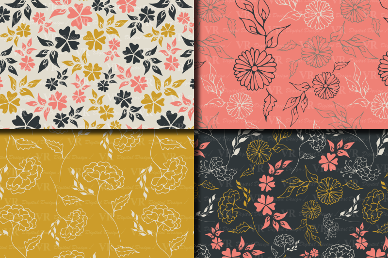 seamless-elegant-floral-digital-paper-hand-drawn-flowers-gray-gold-coral