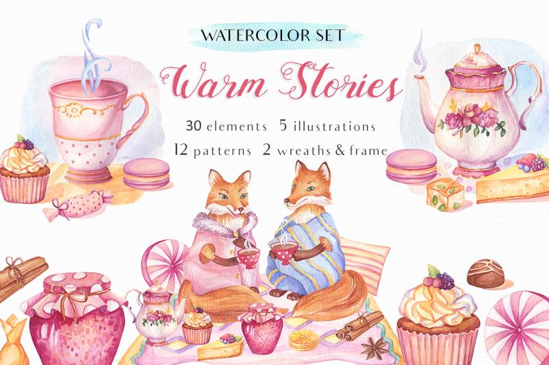 warm-stories-watercolor-set