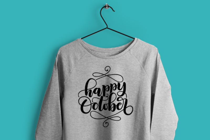 Happy October Autumn Fall Svg Dxf Pdf Files Hand Drawn Lettered Cut File Graphic Overlay By Howjoyful Files Thehungryjpeg Com