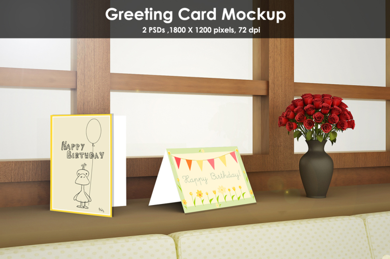 Free Window side Greeting Card Mockup (PSD Mockups)