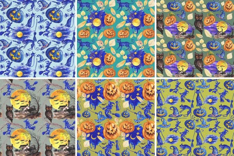 halloween-seamless-patterns