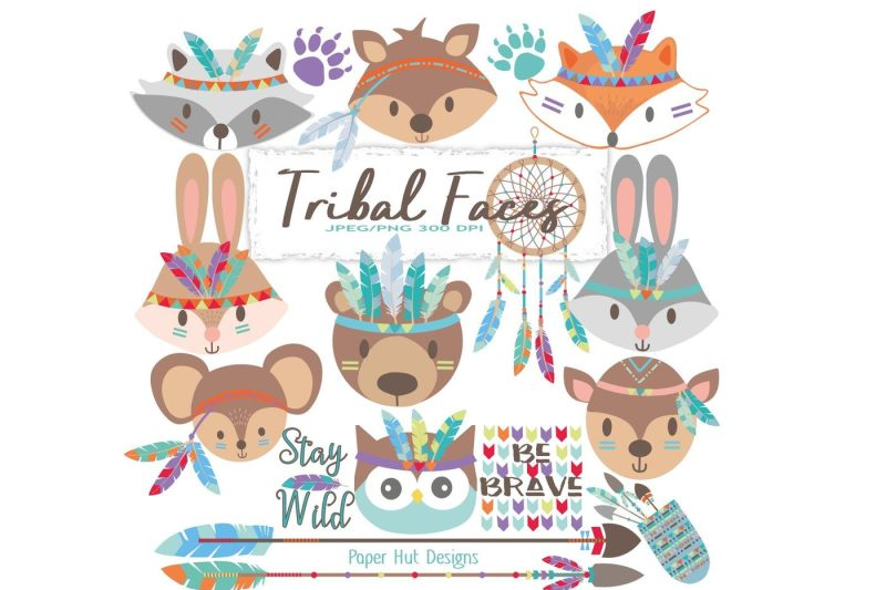 tribal-animal-faces-clipart