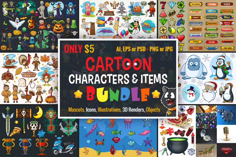 cartoon-characters-and-items-bundle