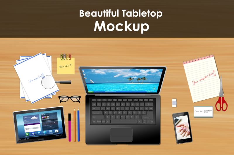 Free Tabletop Mockup / Scene (PSD Mockups)