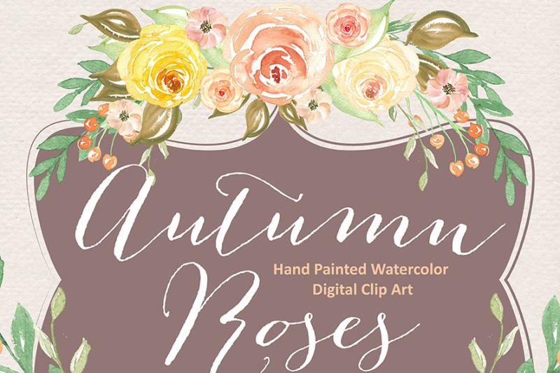 watercolor-autumn-roses-clipart-flower-clipart-floral-clipart-leaf-clipart-wedding-clip-art-wedding-invitation