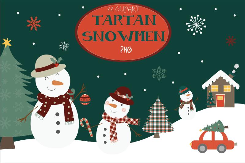 tartan-snowmen-clipart