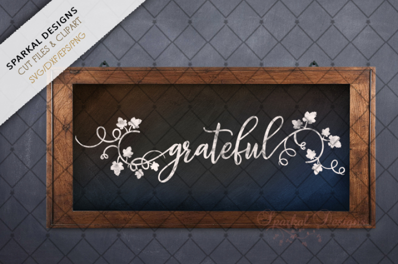 Grateful Blessed Word Art Cutting Files By Sparkal Designs