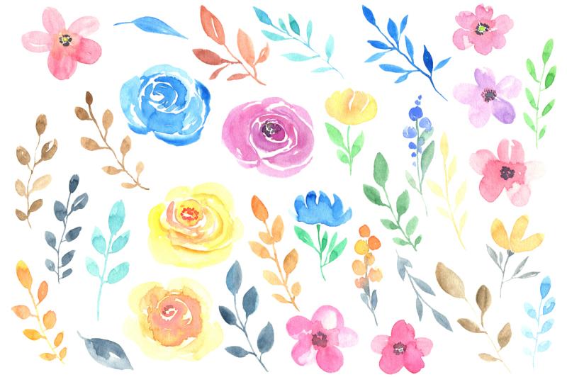 watercolour-summer-garden-flowers