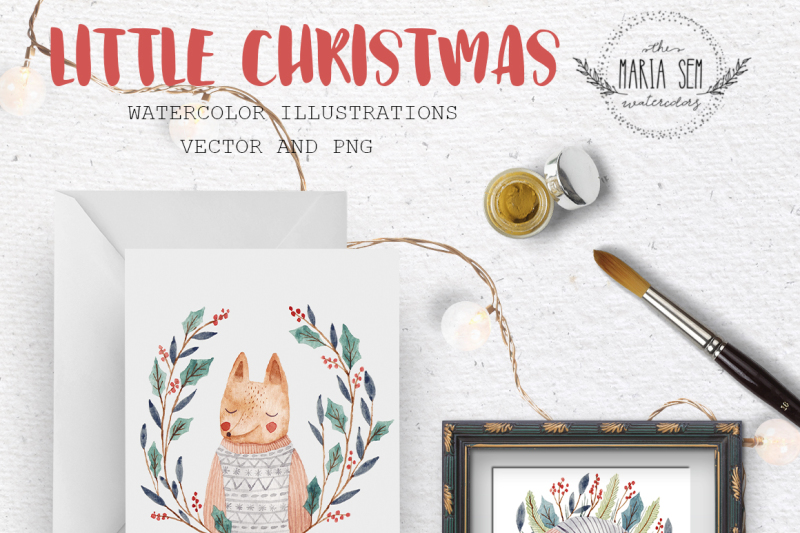 little-christmas-watercolor-and-vector-set