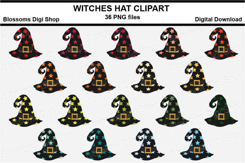 witches-hat-clipart-36-multi-colours-png-files