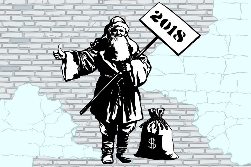 2018-new-year-santa-claus-hitchhiker-with-a-bag-of-money