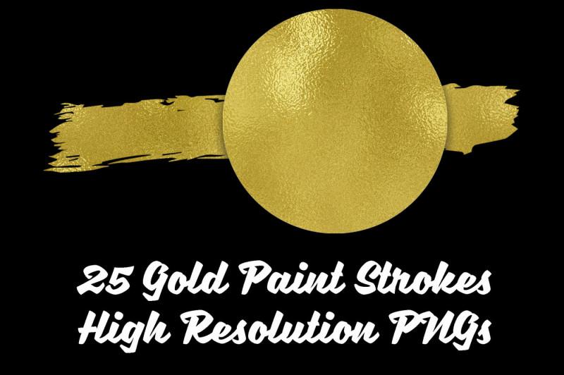 gold-paint-strokes-clip-art-set