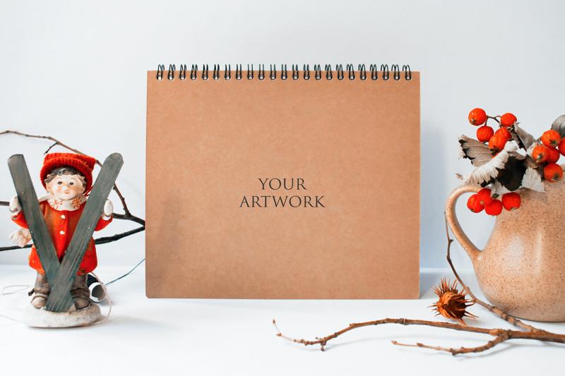 Free A5 Notebook Top View Mockup 10041 (PSD Mockups)