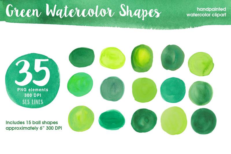 green-watercolor-shapes