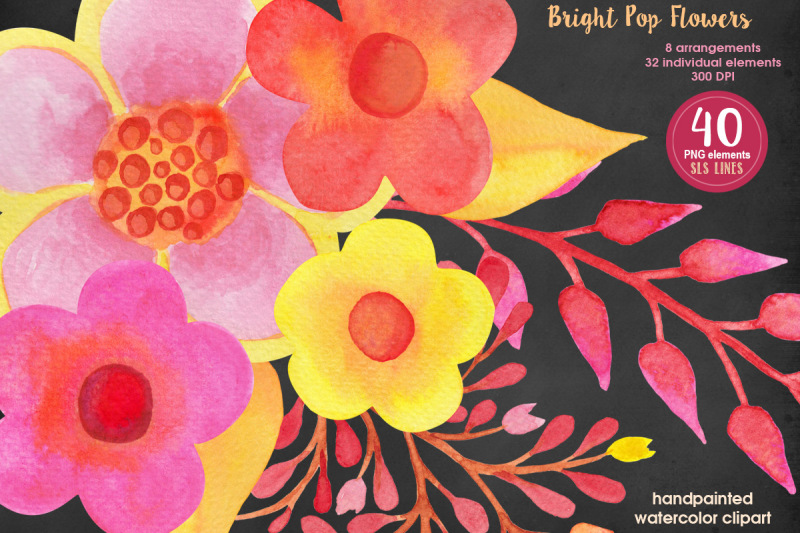 pop-watercolor-flowers-pink-yellow