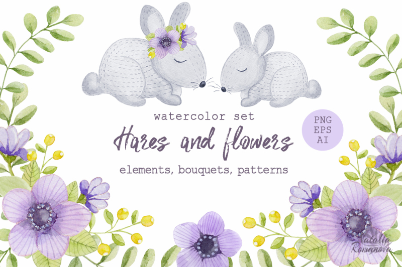 watercolor-hares-and-flowers