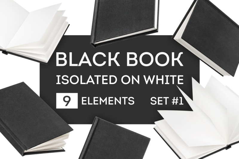 Free Black book mock-up isolated on white (PSD Mockups)