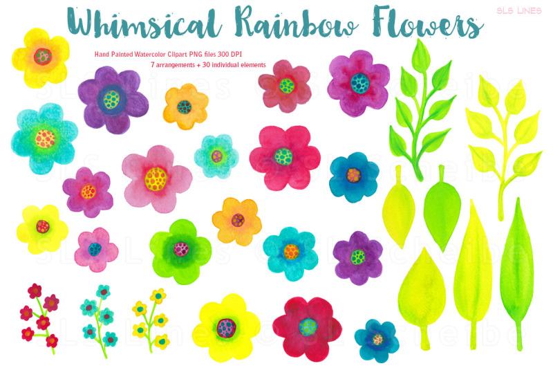 watercolor-rainbow-flowers