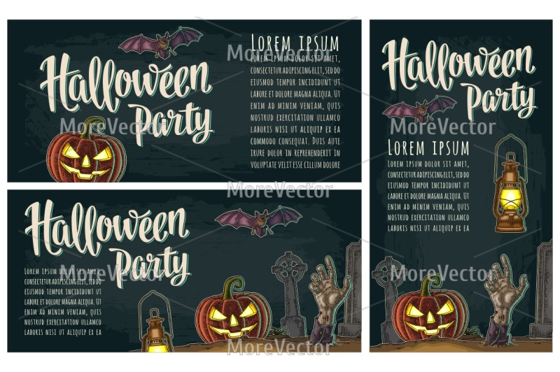 three-posters-with-halloween-party