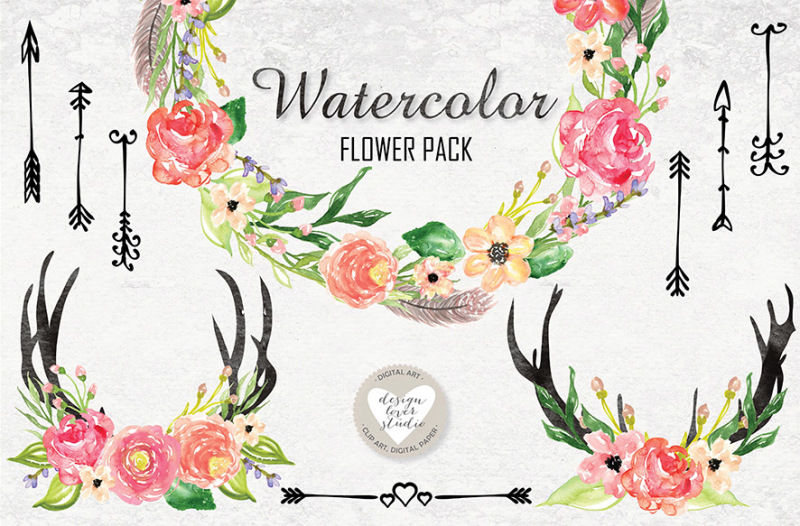 watercolor-tribal-flower-pack