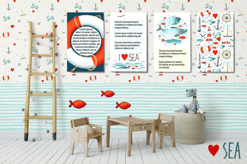 i-love-sea-vector-design-kit