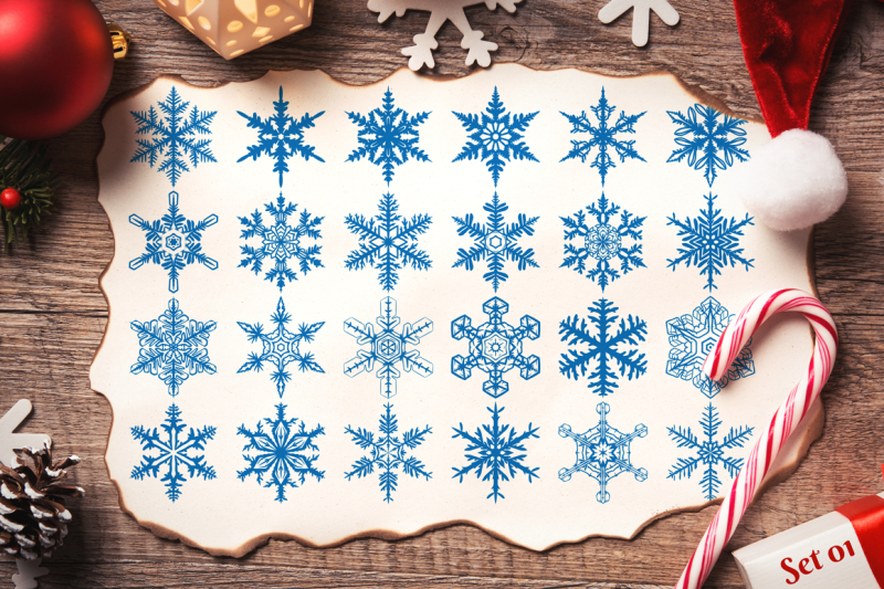 500-snowflake-vector-ornaments