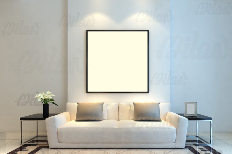 Free Framed Photo Art Mockup Template (Styled Stock Photography), Living Room, Sofa, - 01 (PSD Mockups)