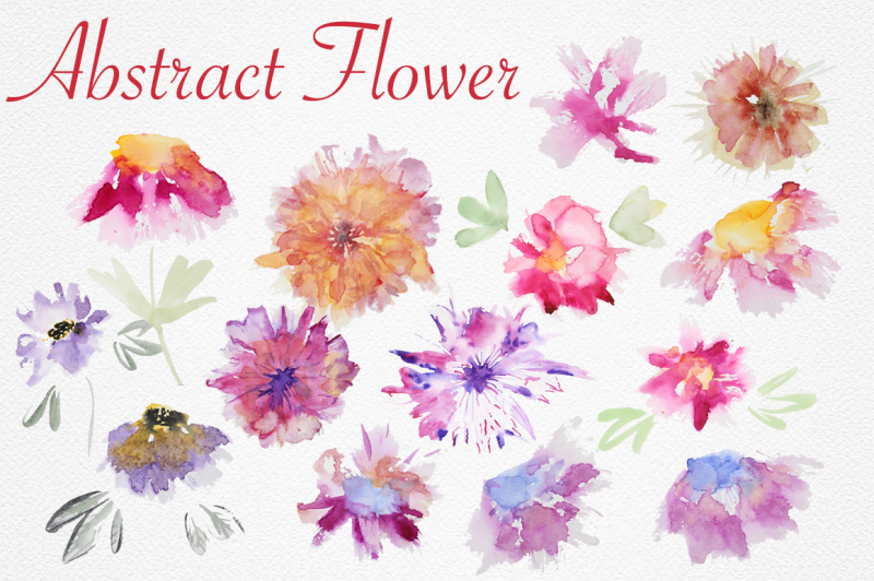 watercolor-abstract-flower-set