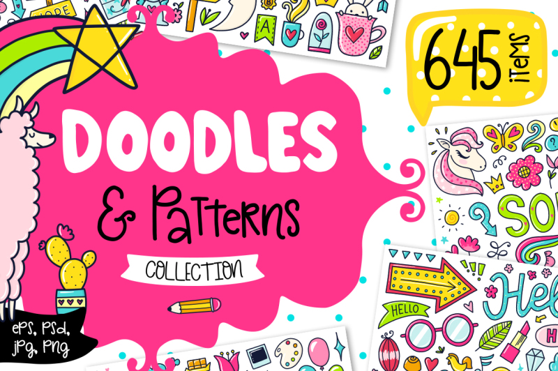 645-doodles-and-patterns-clipart-set
