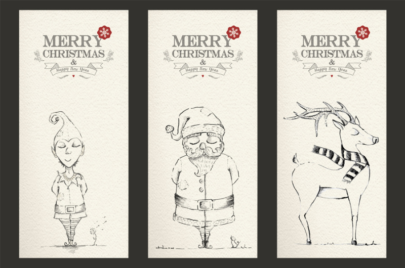 merry-christmas-hand-drawn-set-label