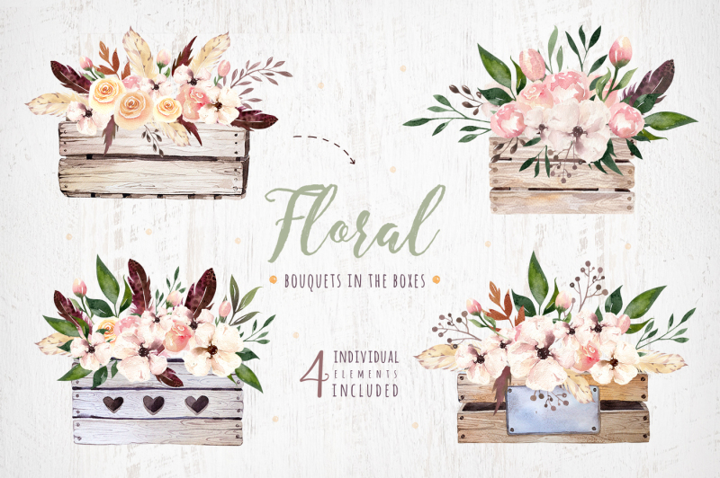 watercolor-boho-flowers-bouquets