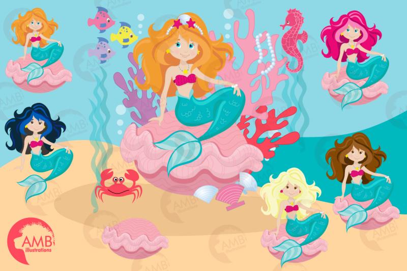 mermaid-princess-clipart-graphics-illustrations-amb-818
