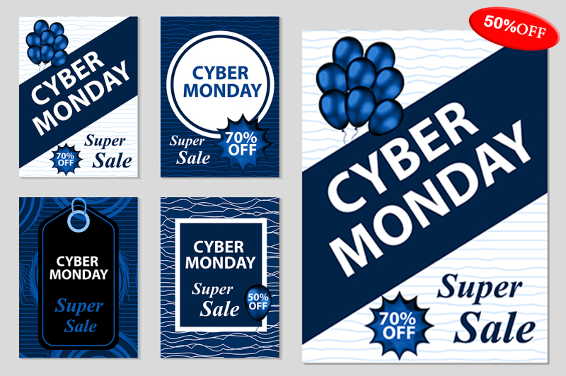 cyber-monday-set-flyers-poster