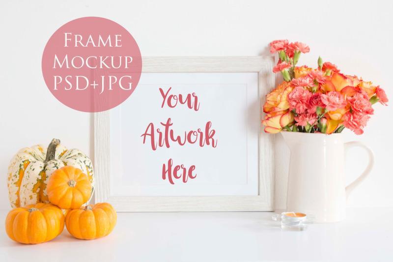 Free Frame Mockup - pumpkins (PSD Mockups)