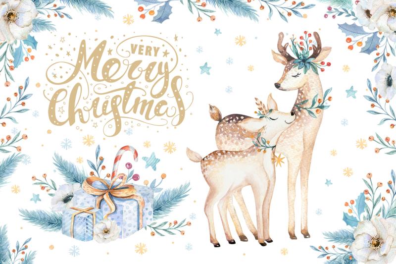 watercolor-christmas-deer