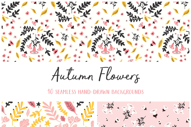 autumn-flowers-seamless-patterns