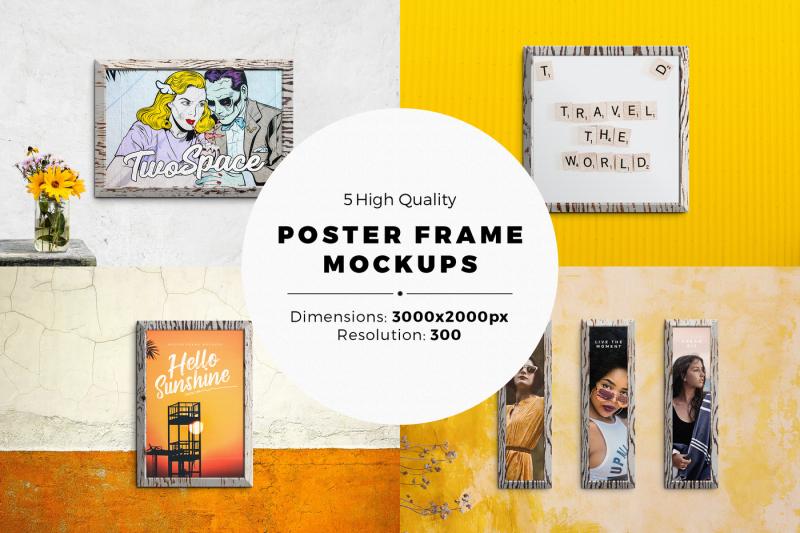 Free 5 Poster Frame Mock-ups With Editable Templates (PSD Mockups)