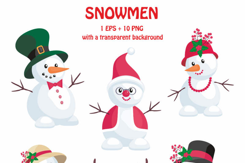 Snowmen Christmas Clip Arts By Olga Belova Thehungryjpeg Com