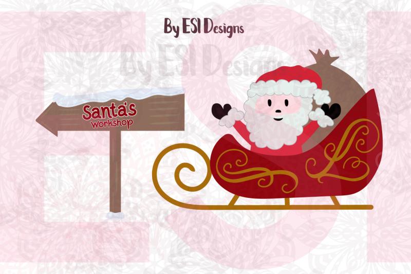santa-sleigh-and-santa-s-workshop-sign-svg-dxf-eps-and-png