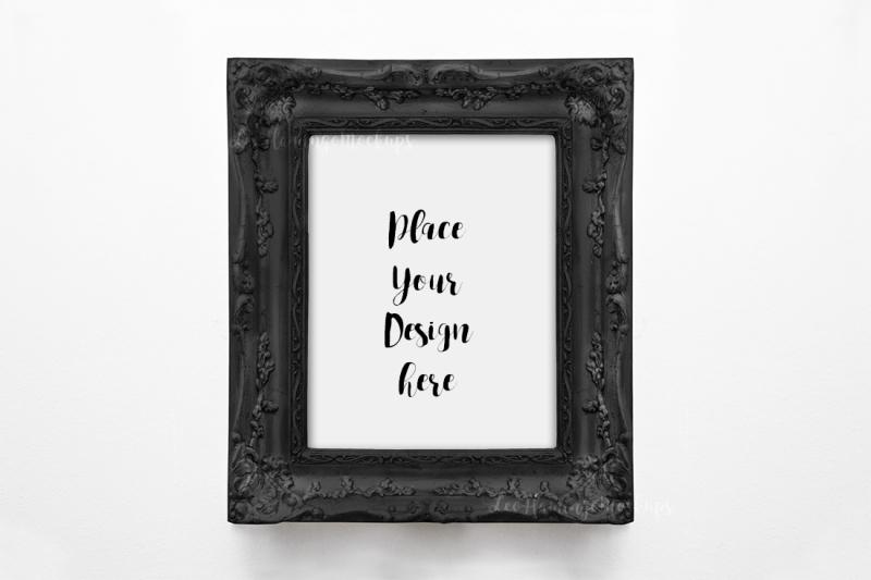 Free Halloween frame mock up 8x10 Black template art photo display (PSD Mockups)