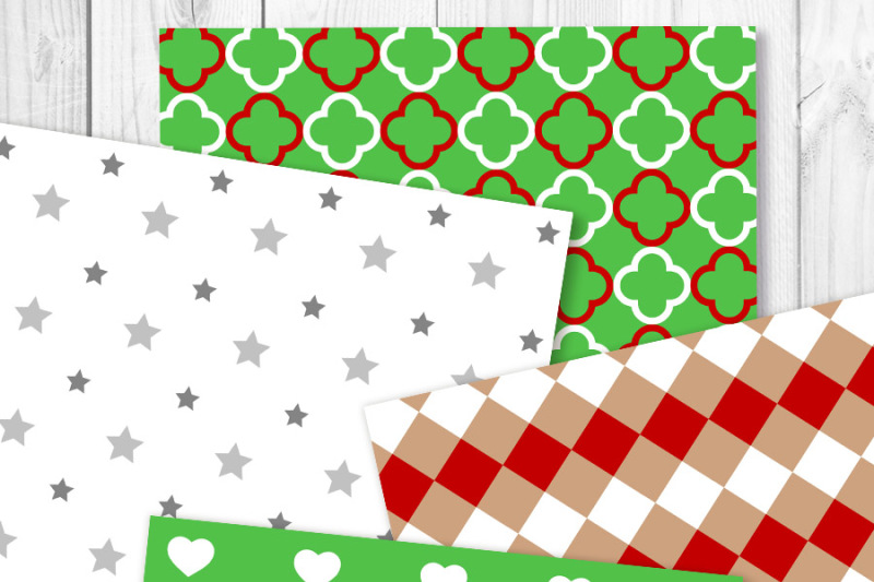 christmas-digital-papers-holiday-scrapbook-paper-red-and-green-patterns-silver-christmas-paper