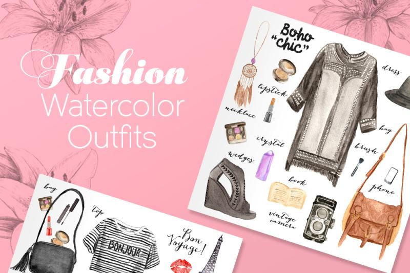 100-watercolor-fashion-elements
