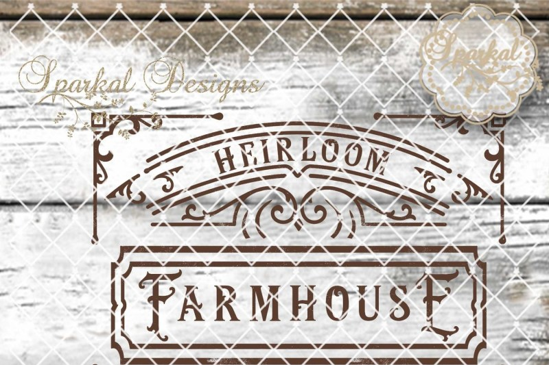 Heirloom Farmhouse Wood Sign Stencil Cutting File By Sparkal Designs Thehungryjpeg Com