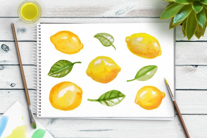 watercolor-lemons-clipart-watercolor-clipart-fruit-clipart-hand-painted-clipart-food-clipart