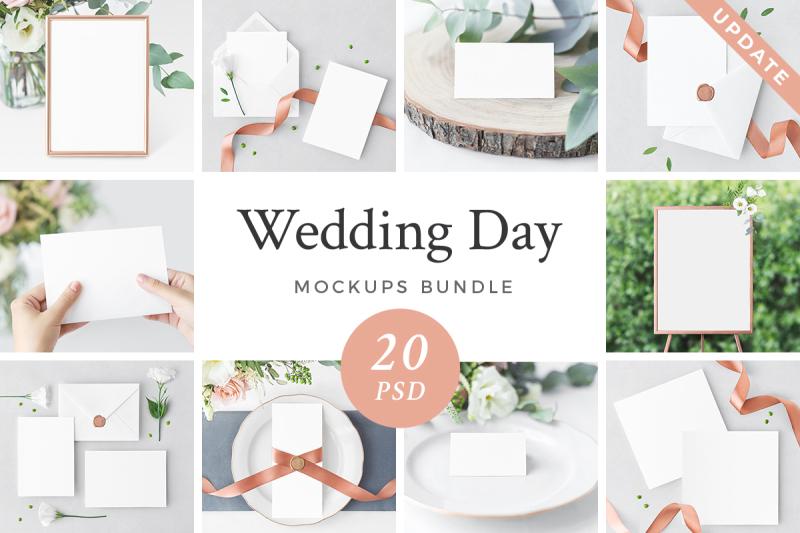 Free Wedding Day Mockup Bundle (PSD Mockups)