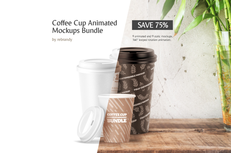 Free Coffee Cup Animated Mockups Bundle (PSD Mockups)